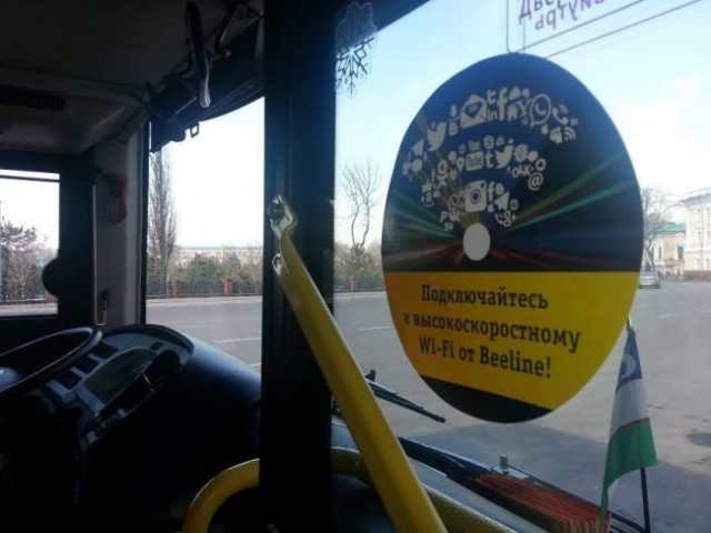 Beeline автобусларда йўловчилари учун бепул WiFi тақдим этаётганини маълум қилди